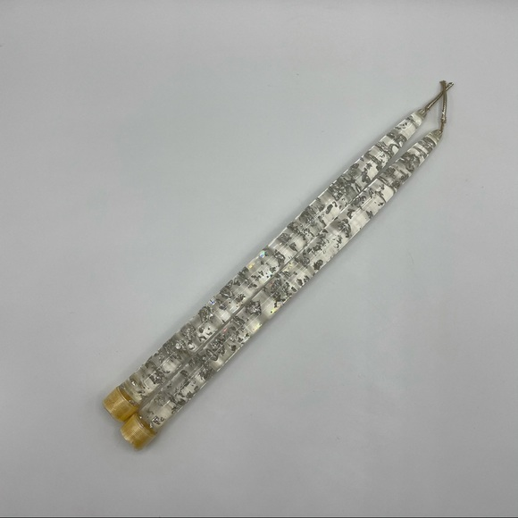 Vintage Silver Flake Lucite Tapered Candles